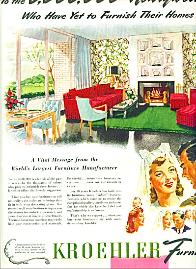 1944 KROEHLER Furniture AD BRIDE WWII Soldier (Image1)