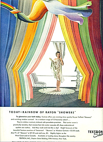 1944 Textron Curtain AD LADY Behind SHOWER (Image1)