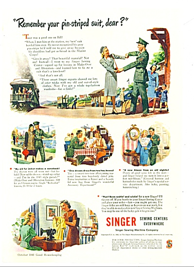 1945 Singer Sewing AD USMC SOLDIER COMES HOME (Image1)