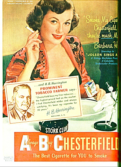 1950 Chesterfield cigarettes - BARBARA HALE (Image1)