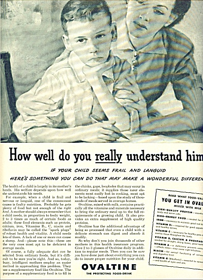1950 Ovaltine AD - FRAIL LANGUID BOY w/ Mom (Image1)