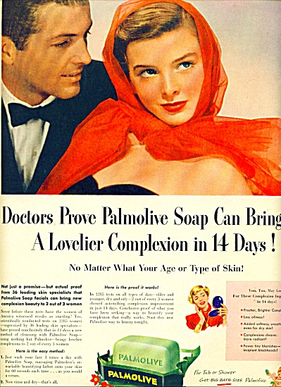 1950 Palmolive soap AD Woman in Red Date (Image1)