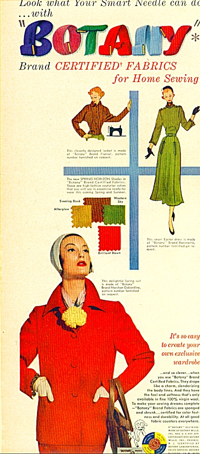1950 Botany FABRICS Model Fashion AD (Image1)