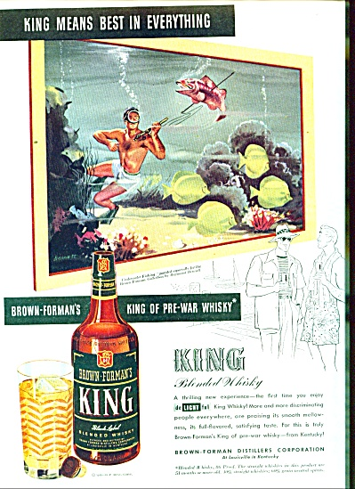 1946 Brown Forman King Whiskey Ad Bennett Art