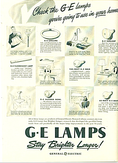 1946 GE Lamps BULBS Fixtures AD Vintage Art (Image1)