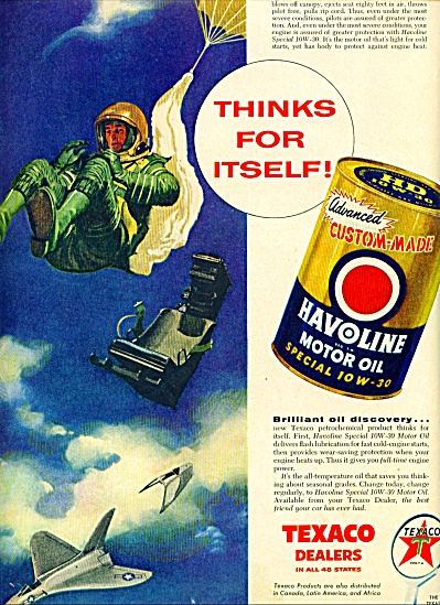 1956 Texaco AD JET PILOT EJECTS from PLANE (Image1)