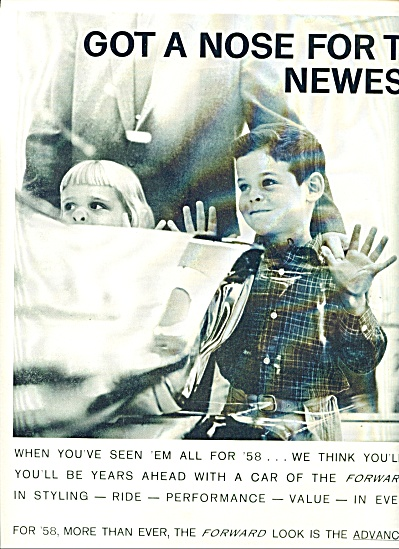 1958 Chrysler AD PIG NOSE KIDS on the WINDOWS (Image1)