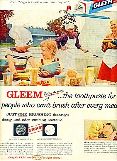 1957 Gleem toothpaste ad Family BBQ (Image1)