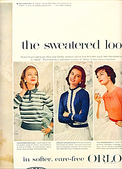 1956 Dupont orlon - Sweaters ad 2pg MODELS (Image1)