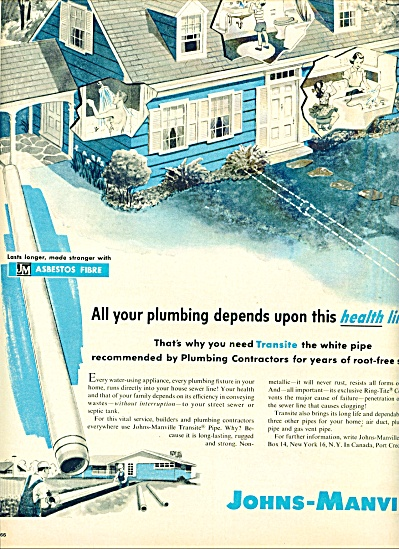 1957 Johns Manville ASBESTOS  Water PIPE AD (Image1)