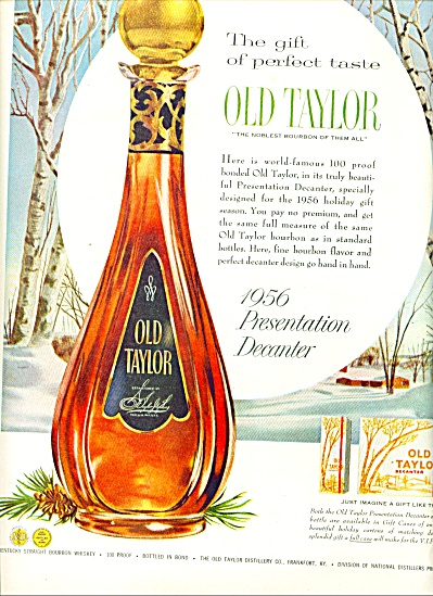 1956 Old  Taylor Bourbon AD Winter Art (Image1)