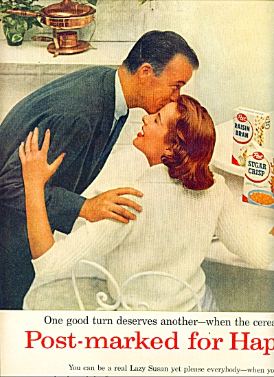 1956 POST Cereal AD 2 pg. Dad Kissing Mom (Image1)