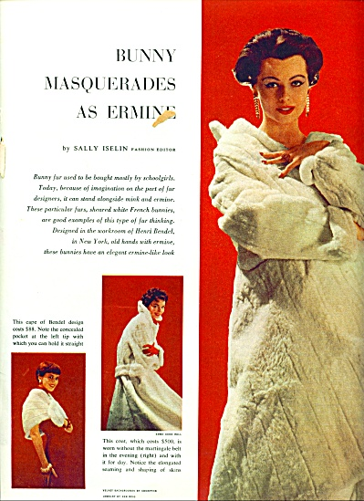 1956 ERMINE FUR ArticleFAKE Fashion MODELS (Image1)
