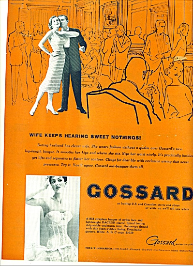 1956 Gossard Bra Strapless Basque Nylon Ad