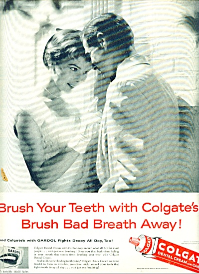 1957 Colgate Dental Cream AD GIRL - BOY DATE (Image1)