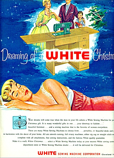 1956 White Sewing Machine AD Woman Dream ART (Image1)