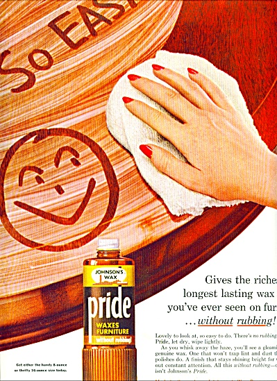 Pride furniture Wax from Johnsons ad 1957 (Image1)