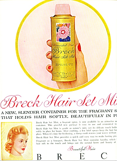 Breck Hair set mist ad 1956 SLENDER SPRAY (Image1)