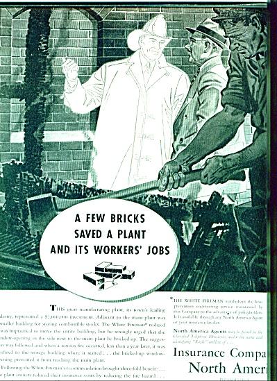 1939 Insurance North America AD BRICK SAVES (Image1)