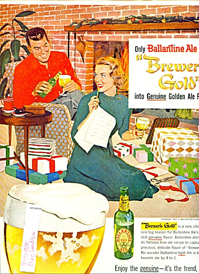 1957 Ballantine Light ALE AD MIKE LUDLOW ART (Image1)