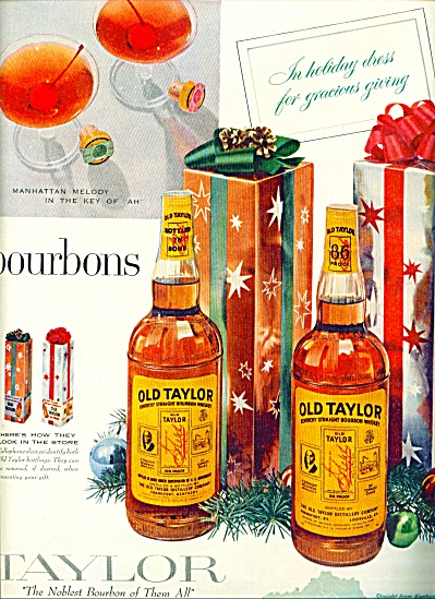 1957 Old Taylor Kentucky Whiskey Ad