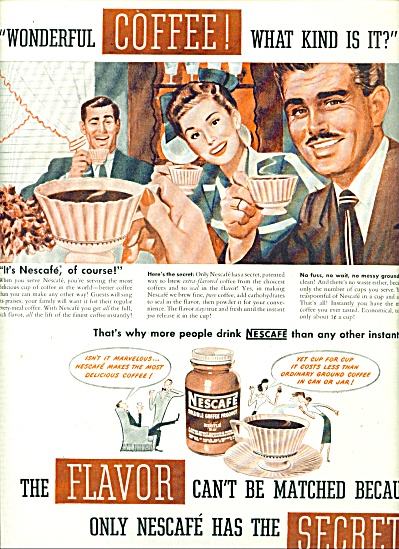 1947 Nescafe Soluble COFFEE AD CUTEST ART (Image1)