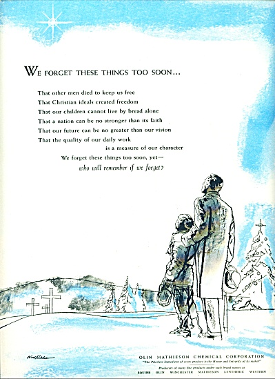 1955 Olin Mathieson SICKLES ART AD We Forget (Image1)