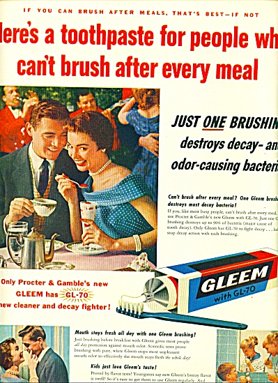Gleem tooth paste ad 1955 (Image1)