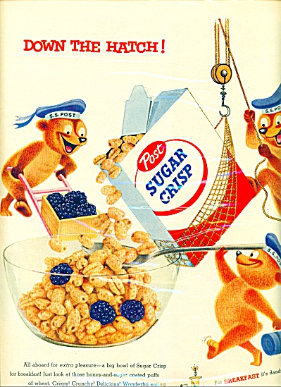 1955 Post Sugar Crisp AD SAILOR BEARS (Image1)
