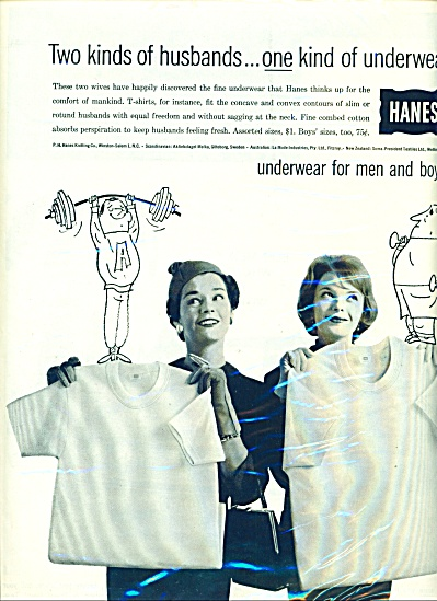Hanes underwear for men and boys ad 1959 (Image1)