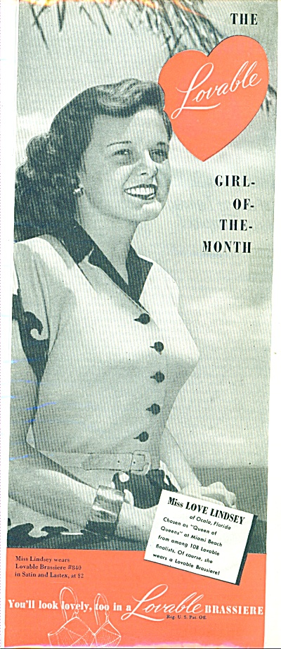 1947 Lovable Bra Ad Miss Love Lindsey Model