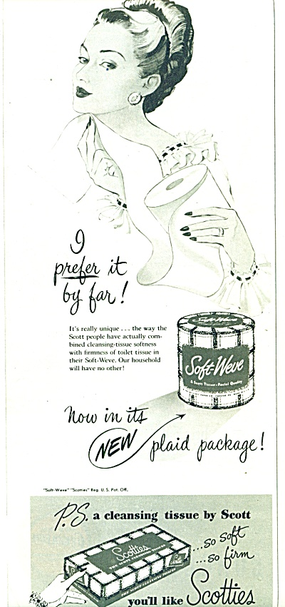 1947 Scotties  Tissue AD Elegant Woman ART (Image1)