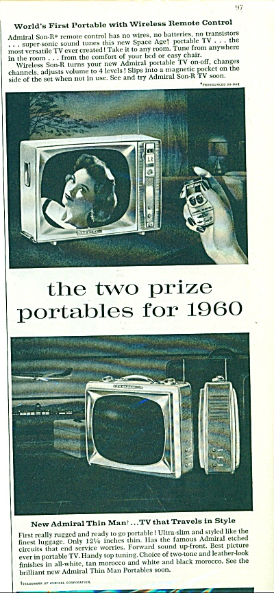 Admiral Portable Televisions 1959
