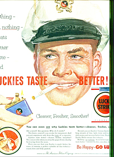 1953 Lucky Strike Cigarettes AD BOAT CAPTAIN (Image1)
