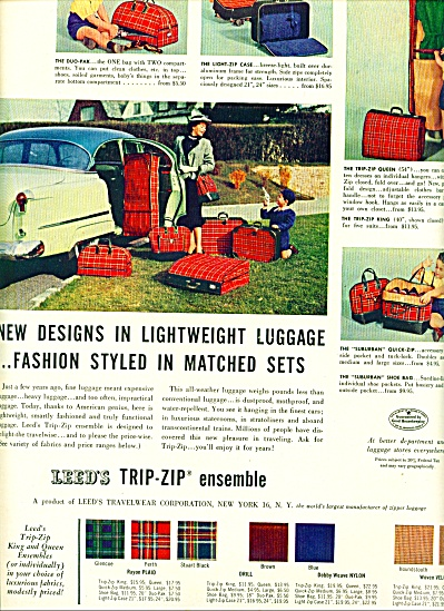 Leed's trip- zip ensemble luggage ad  1953 (Image1)
