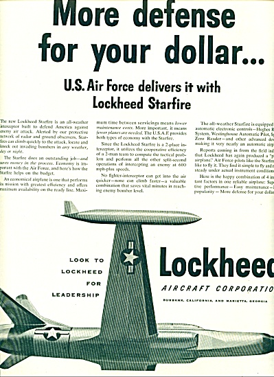 1953 U.s. Air Force Lockheed Aircraft Ad