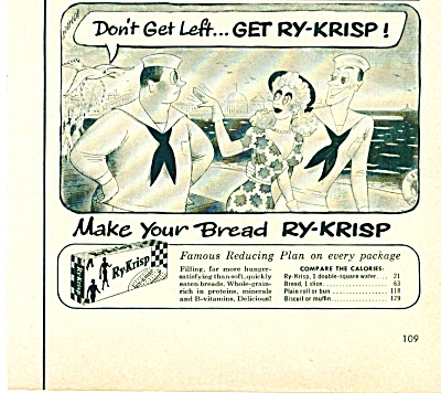 1953 Ry-Krisp Bread AD R. TAYLOR ART CARTOON (Image1)