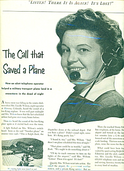 1952 Bell Telephone Ad Lucille Wilson Saves