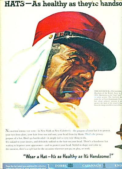 1952 Hats Ad Havelock Rico Tomason Art