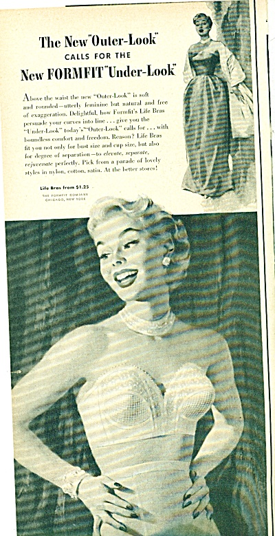 1957 Life By Formfit Bra Ad Marilynish Art