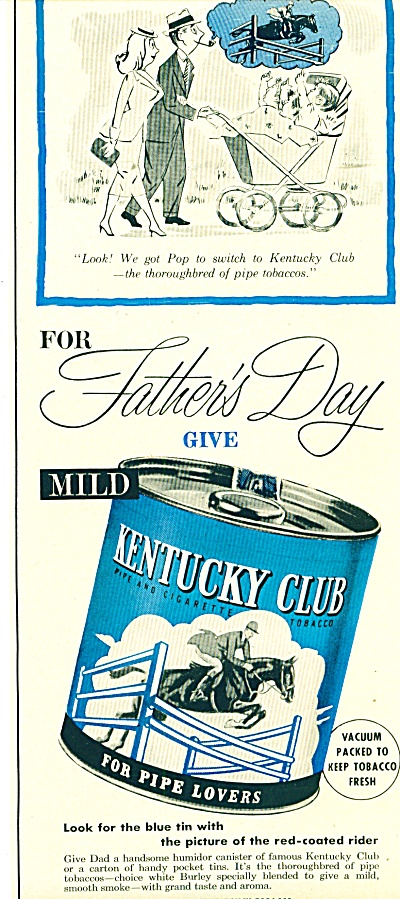 1953 Kentucky Club Tobacco AD Blue Tin ART (Image1)