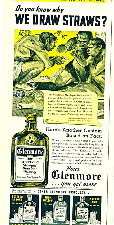 1939 Glenmore Kentucky WHISKEY AD CAVEMAN ART (Image1)