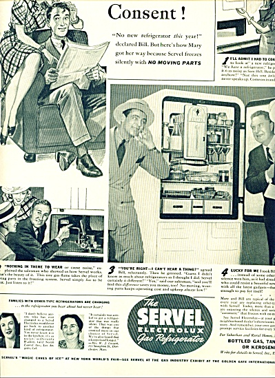 1939 SERVEL Refrigerator AD Artist WILLIAMSON (Image1)