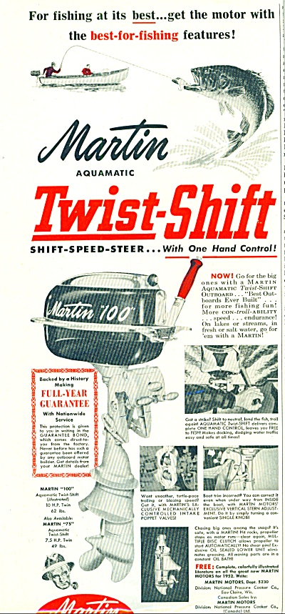 1952 Martin Twin Shift Outboard Motor Ad