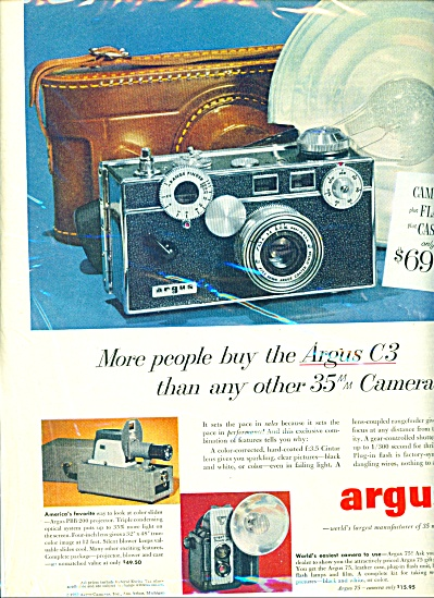argus cameras  C3, 35 mm camera ad 1952 (Image1)