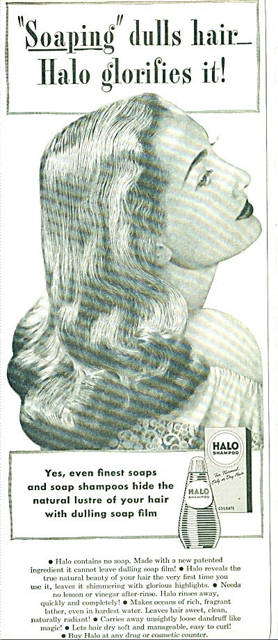1947 Halo Shampoo Ad Vintage Model