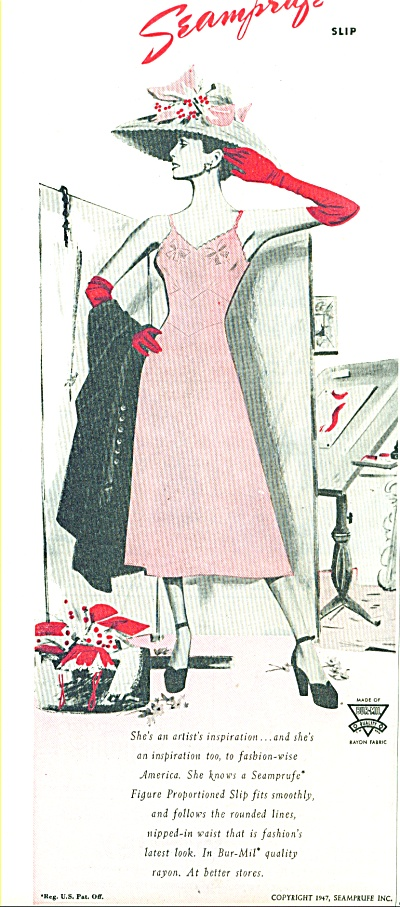 1947 SEAMPRUFE SLIP AD Vintage WOMAN ART (Image1)