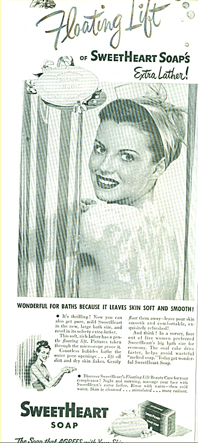 1947 Sweetheart Soap Ad Woman In Shower