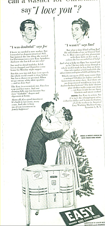 1947 Easy wash machine ad  JOE SUE I LOVE YOU (Image1)