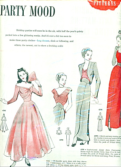 1947 Women's PARTY FASHIONS Star Patterns AD (Image1)